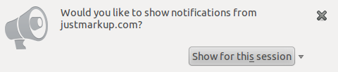 Screenshot showing the request permission dialogue in Firefox 22