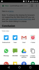 Screenshot showing the open share dialog in Chrome for Android