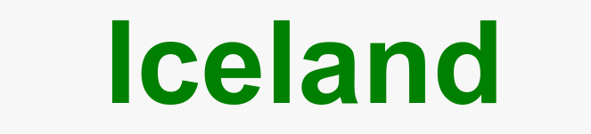 Screenshot of the default style - showing the word Iceland in green