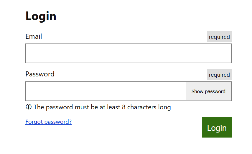 The final login form example
