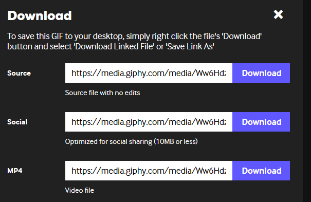 Download modal from giphy showing download buttons for GIF, social and video
