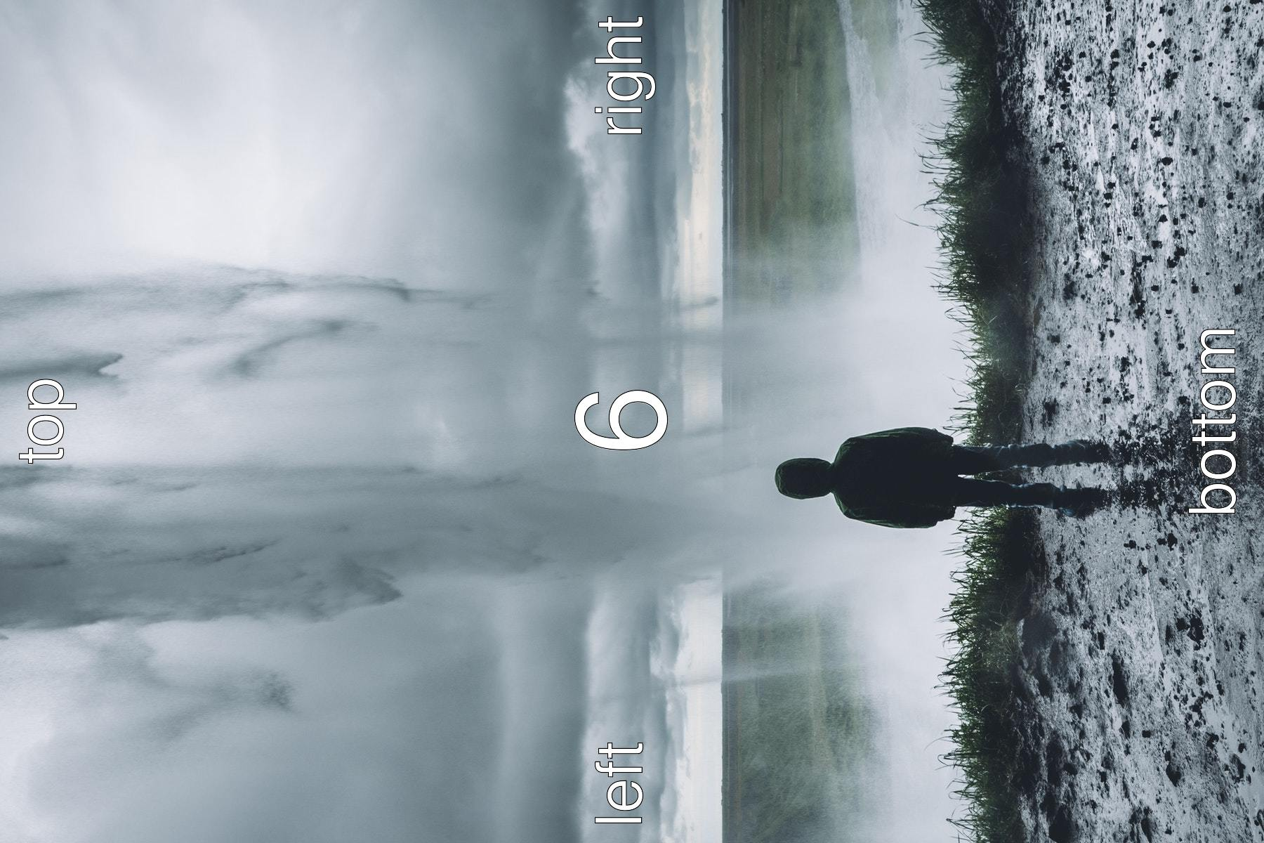 Young person behind a waterfall. Text on the image is top, right, bottom, left clockwise and in the center it says six.